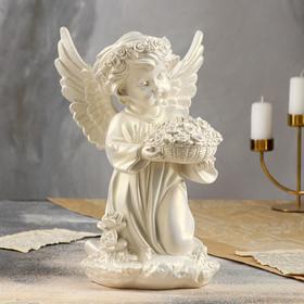 """Статуэтка """"Ангел с корзиной цветов"""", перламутровая, 32 см"""