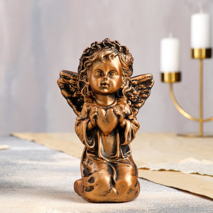 """Статуэтка """"Ангел с сердцем"""" бронзовый цвет, 18 см"""