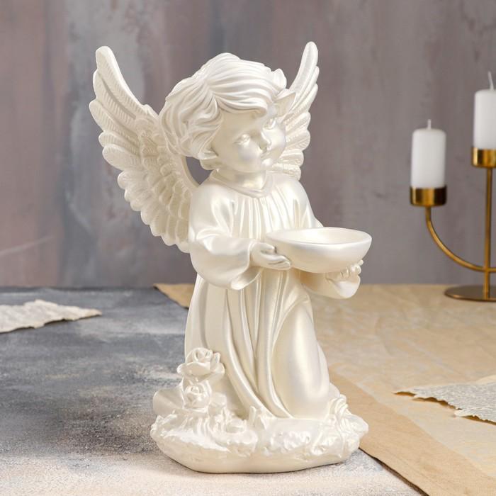 """Статуэтка """"Ангел с чашей"""", перламутровая, 33 см"""