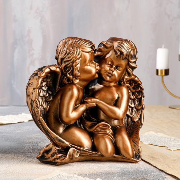 """Статуэтка """"Ангелы влюбленная пара"""" бронзовый цвет, 27 см - фото 725939316"""