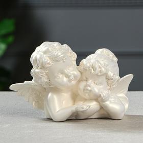 """Статуэтка """"Ангелы пара с алмазом"""" перламутровая, 11 см"""