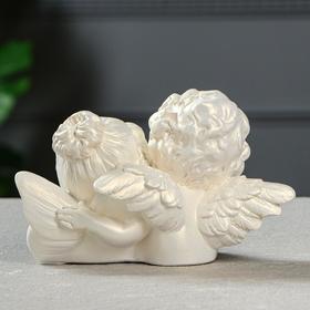 """Статуэтка """"Ангелы пара с алмазом"""" перламутровая, 11 см - фото 1521154"""