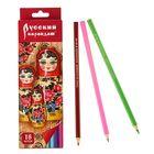 """Карандаши 18 цветов """"Русский карандаш. Фольклор"""", шестигранные, длина 175мм, ok 6.4мм"""