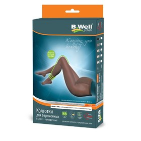 B.Well JW-316 transparent compression tights for pregnant women, grade 1, size 4, natural color