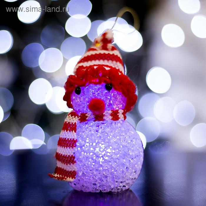 """Игрушка световая """"Снеговик"""" (батарейки в комплекте) 6х13 см, 1 LED RGB, КРАСНЫЙ"""