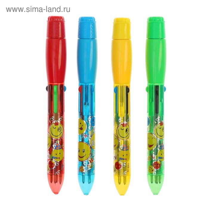 """Прикол ручка световая 4 цвета """"Смайл"""", цвета МИКС"""