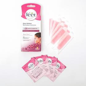 Восковые полоски для лица Veet с ароматом бархатной розы и эфирными маслами, 20 шт