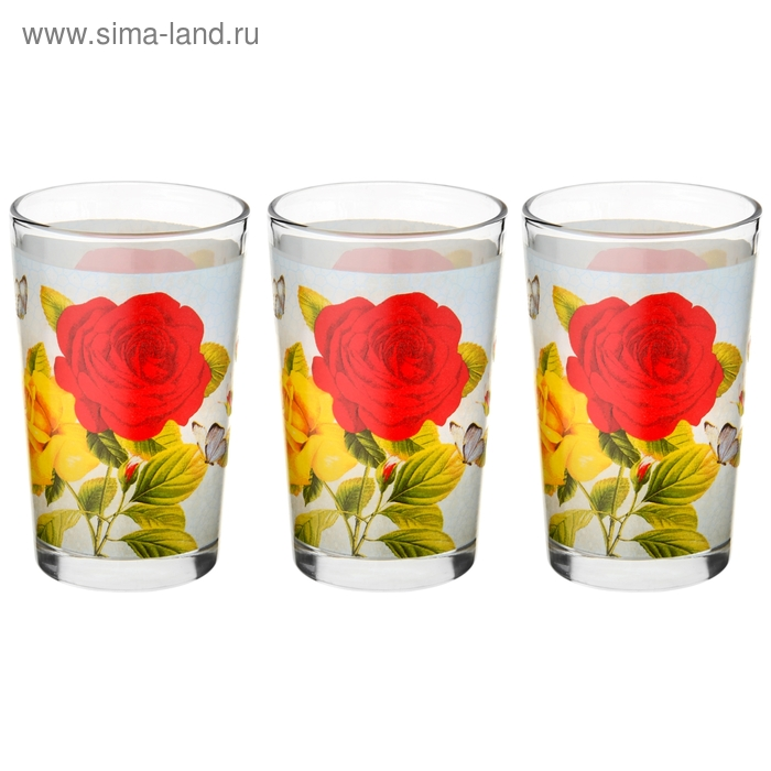 """Набор стаканов 250 мл """"Розы на голубом"""", 3 шт."""