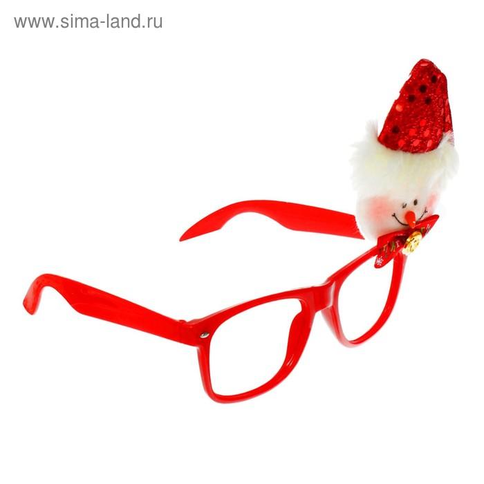"""Карнавальные очки """"Снеговик в колпаке"""" с бантиком"""