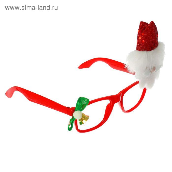"""Карнавальные очки """"Дед Мороз"""" с бантиком"""