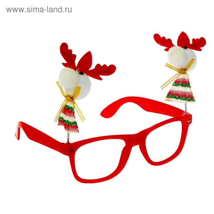 """Карнавальные очки """"Дед Мороз"""" с оленями и бородой"""