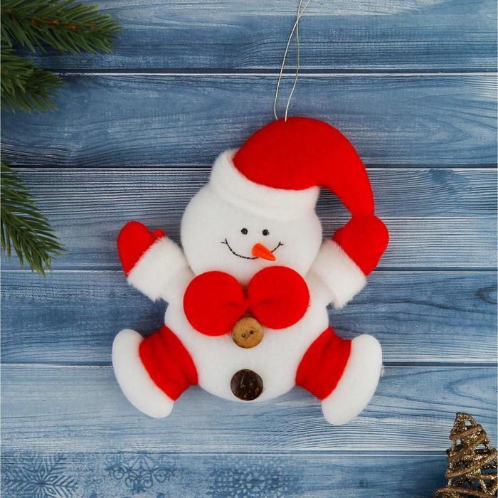 """Мягкая ёлочная игрушка """"Снеговик с красным бантиком"""""""