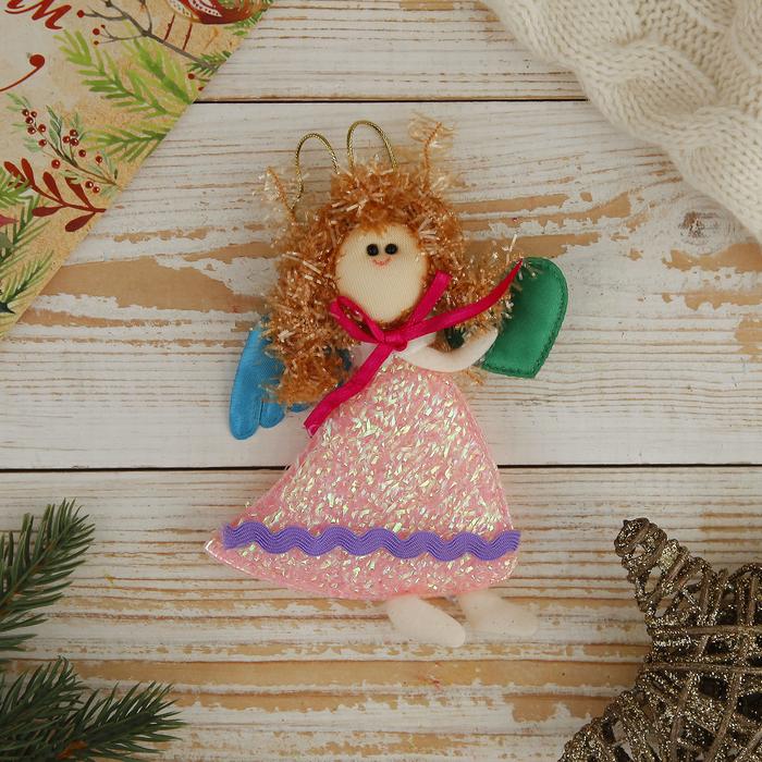 """Мягкая ёлочная игрушка """"Ангелок в розовом платье"""" с сердцем"""