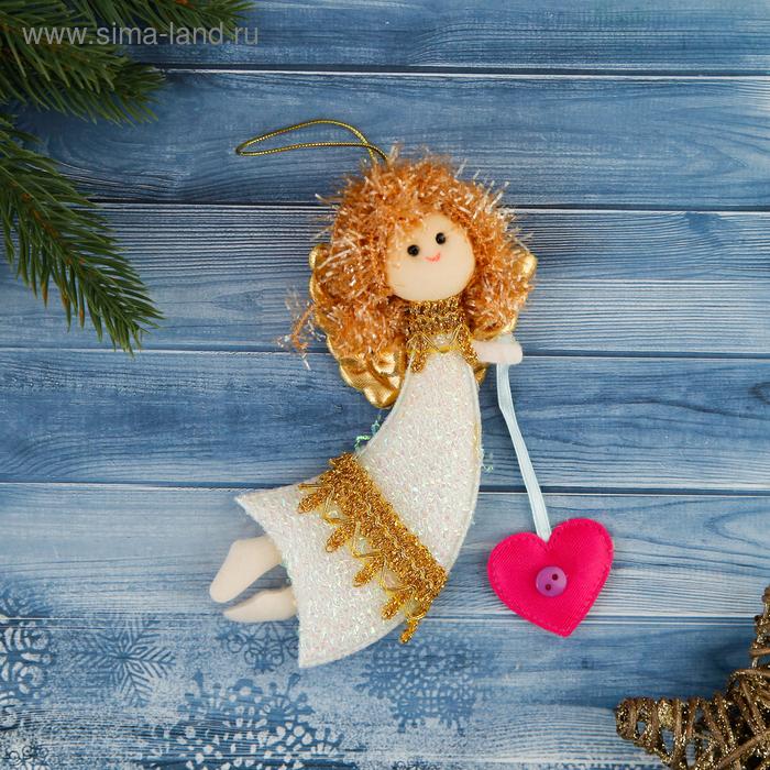 """Мягкая ёлочная игрушка """"Летящая фея"""" с сердечком"""
