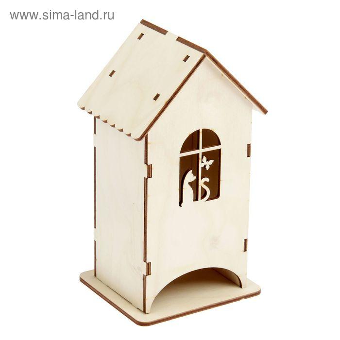 """Заготовка для декора """"Кошка и бабочка"""", чайный домик, набор 9 деталей, высота 20 см"""