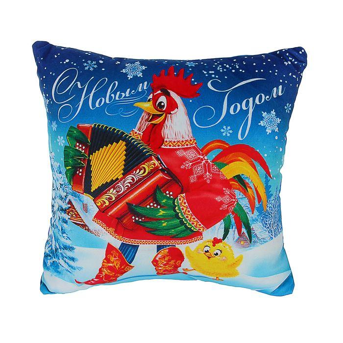 """Подушка-антистресс """"С Новым годом!"""", петух и цыплёнок"""