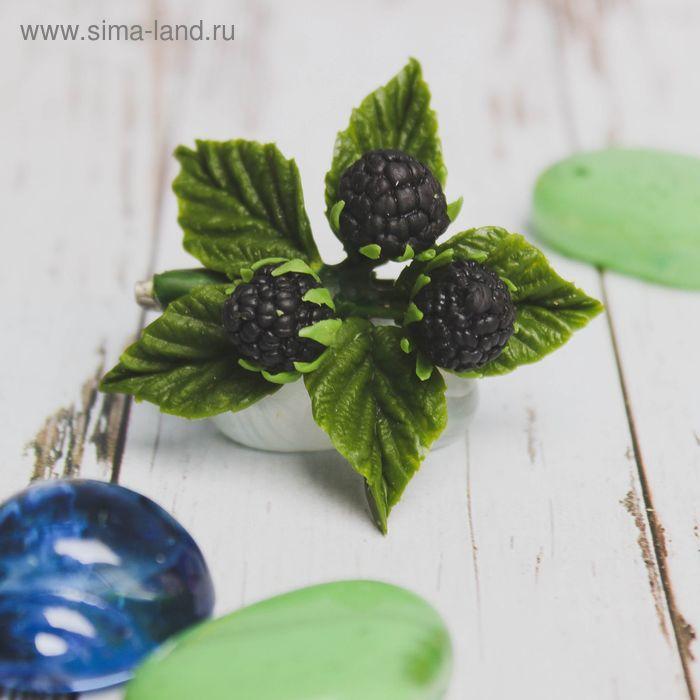"""Брошь """"Ежевика"""", цвет зелено-чернильный"""
