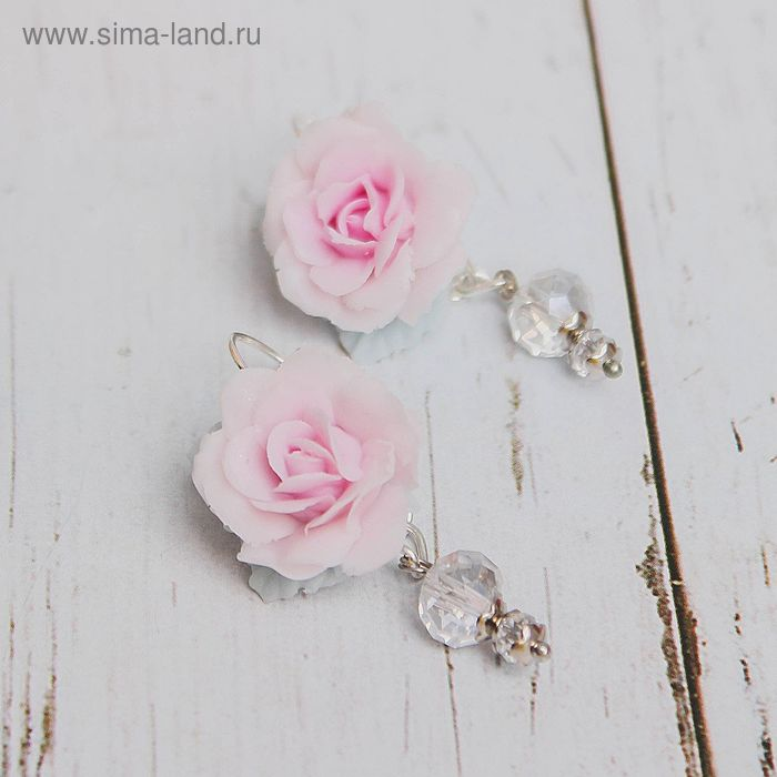 "Серьги ""Цветок"" роза, цвет розово-серый"