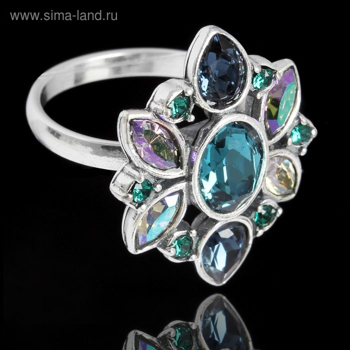 """Кольцо """"Кангра"""", размер 18, цветные в чернёном серебре"""