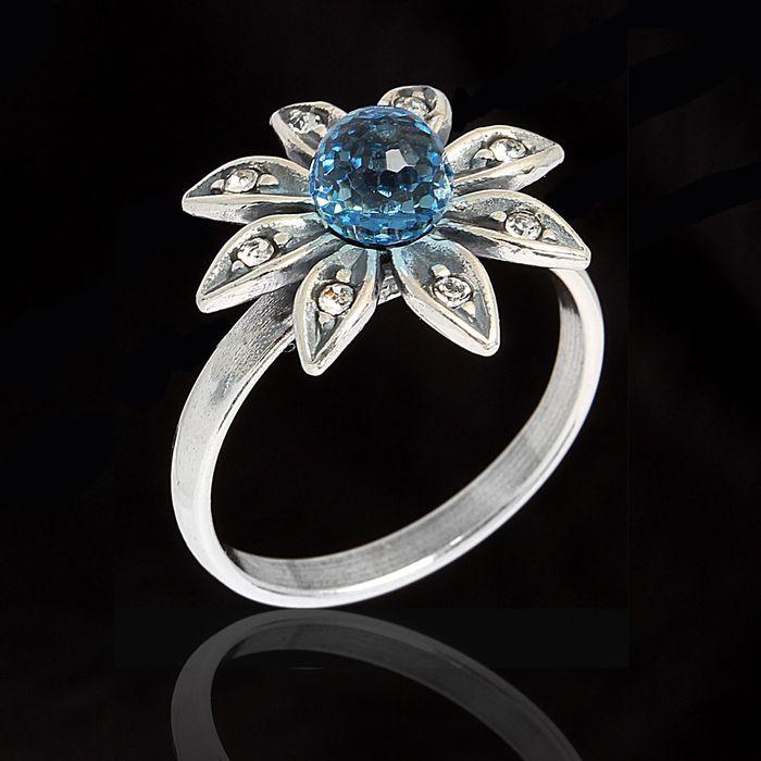 """Кольцо """"Сель"""", размер 18, цвет голубой в чернёном серебре"""