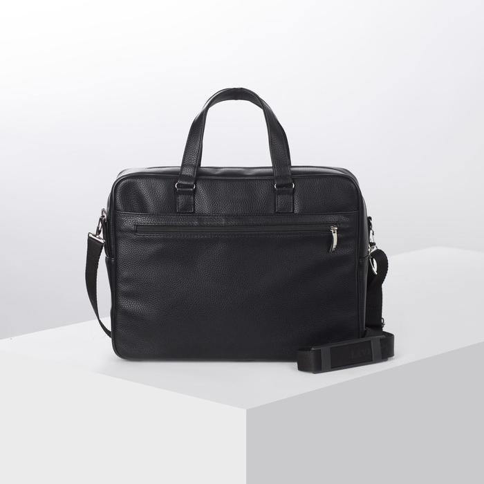 Сумка мужская, отдел на молнии, наружный карман, длинный ремень, цвет чёрный - фото 1656958