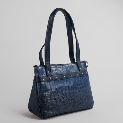Сумка женская, отдел на молнии, наружный карман, крокодил, цвет синий