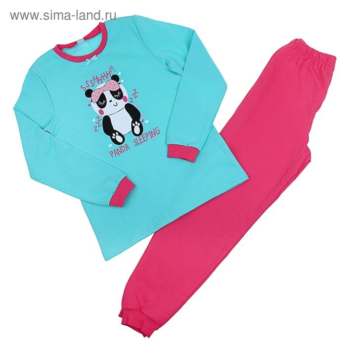 Пижама для девочки, рост 128 см (64), цвет бирюзовый/розовый (арт. CAJ 5258_Д)