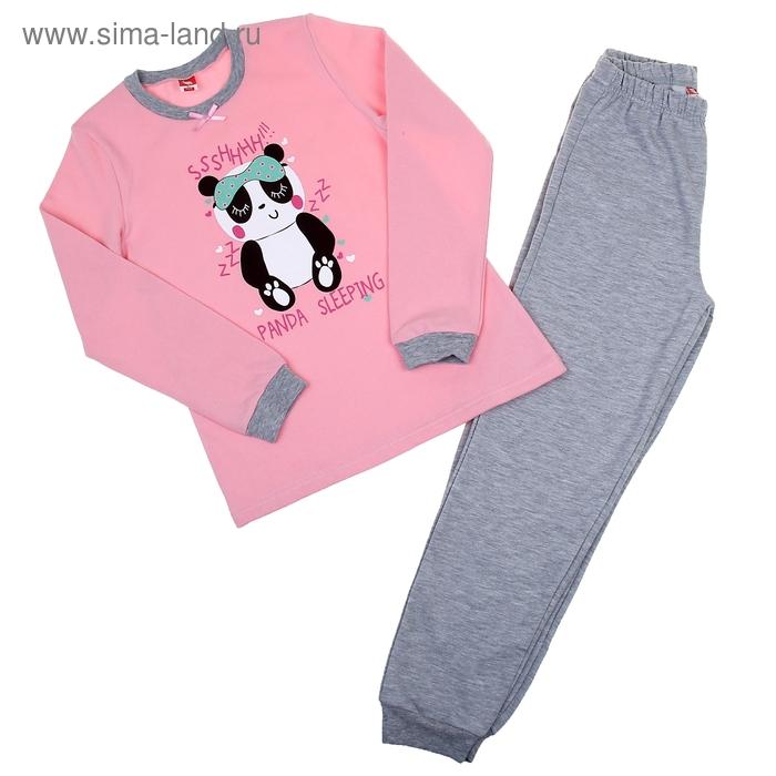 Пижама для девочки, рост 146 см (76), цвет светло-розовый/серый меланж (арт. CAJ 5258_Д)