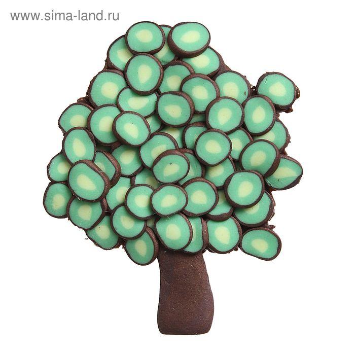 """Брошь """"Деревце"""", цвет зелено-коричневый"""
