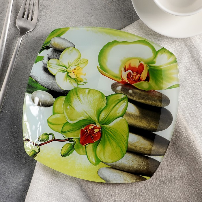 Тарелка десертная Доляна «Зелёная орхидея», d=20 см - фото 797572520