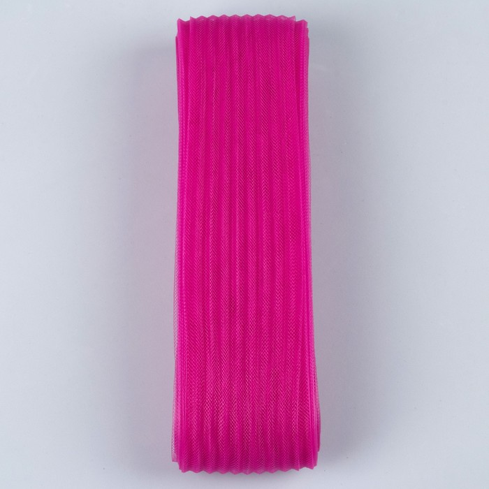 Регилин плоский, гофрированный, 70мм, 20±1м, цвет фуксия