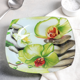 Тарелка суповая «Зелёная орхидея», 350 мл, d=20 см