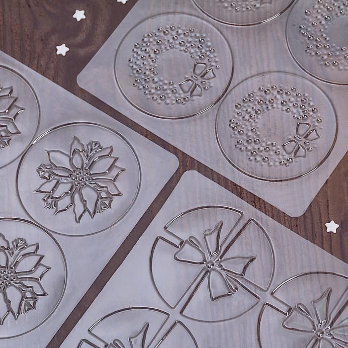 """Набор молдов кондитерских для украшения выпечки """"Бант, цветок, венок"""" 3 шт 19х19х0,1 см"""