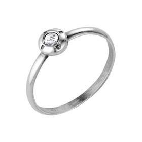 """Кольцо посеребрение с оксидированием """"Классика"""" круг со вставкой, посеребрение с оксидированием, 16 размер"""