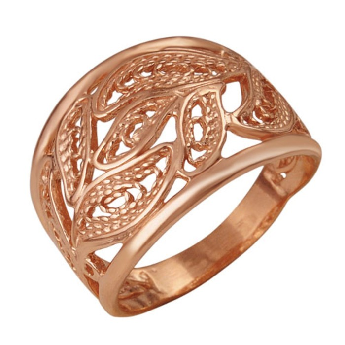 "Кольцо позолота ""Сплетение"" листва, 18 размер"
