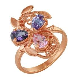 """Кольцо позолота """"Самоцвет"""", цвет фиолетово-розовый, 16,5 размер"""