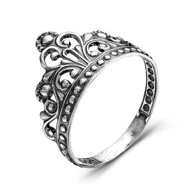 """Кольцо """"Корона"""" принцессы, посеребрение с оксидированием, 16 размер"""