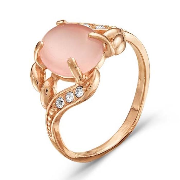 """Кольцо позолота """"Кошачий глаз"""", цвет розовый, 19 размер"""