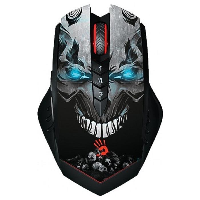 Мышь A4 Bloody R8 metal feet Skull design, черный, оптическая, беспроводная