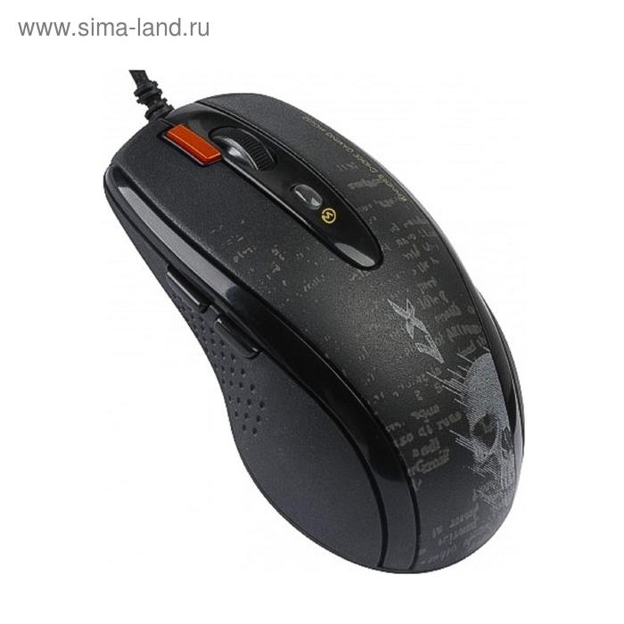 Мышь A4 V-Track F5, черный/рисунок, лазерная, USB