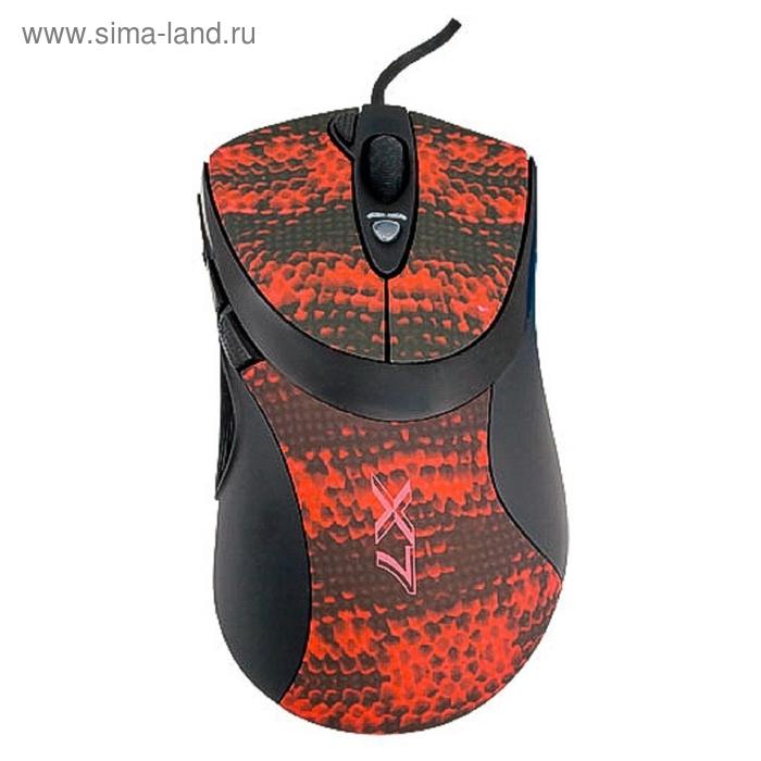 Мышь A4 V-Track F7, черный/красный, лазерная, USB