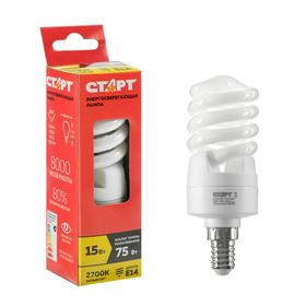 """Лампа """"Старт"""" 15WSPC, серия эко, энергосберегающая, E14, 15 Вт, 2700 K"""