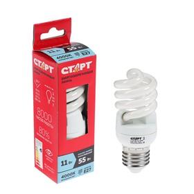 Лампа 'Старт' 11WSPC, серия эко, энергосберегающая, E27, 11 Вт, 4000 K Ош