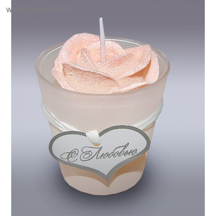 Свеча в стекле роза розовая м