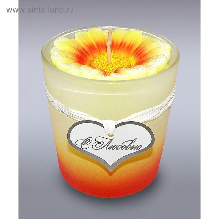 Свеча в стекле ромашка желтая б