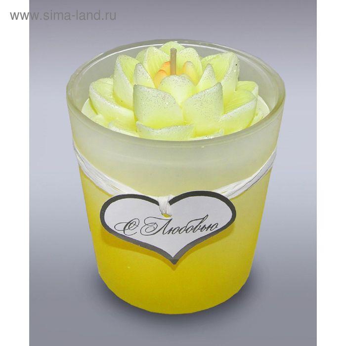 Свеча в стекле лилия желтая б