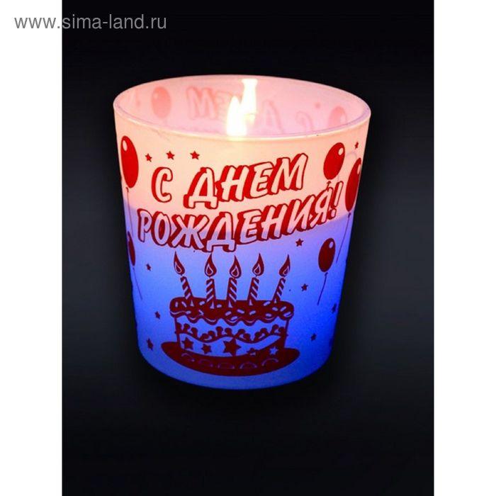 """Свеча в стекле """"торт"""" Хамелеон арома роза"""