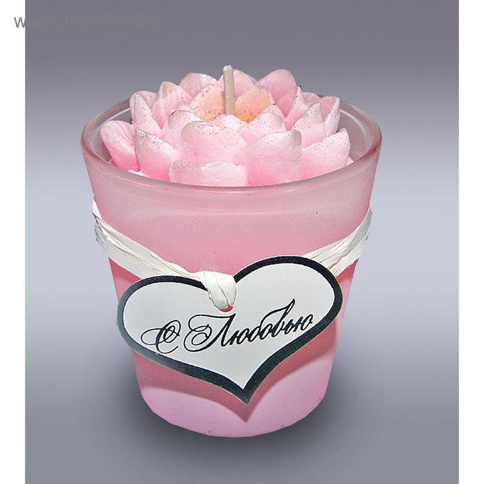 Свеча в стекле лилия розовая м