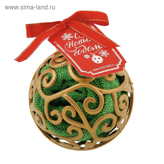 Полотенце сувенирное Collorista в новогоднем золотом шаре, размер 28х28 см, цвет зелёный, микрофибра