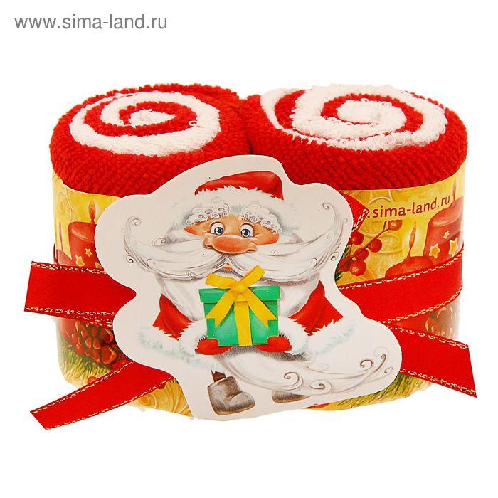 """Полотенце сувенирное Collorista """"Дед мороз""""20х20см -2шт хлопок, 15х15см-2 шт микрофибра"""
